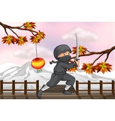 A ninja with a sword vector image vector image