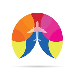 airplane icon in colorful vector image