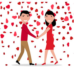 Cartoon love couple falling red hearts vector