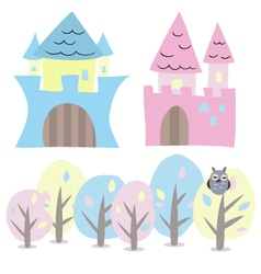 Castle and trees set vector image