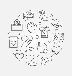 Charity and fundraising round vector