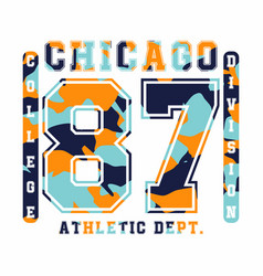 chicago athletic department camouflage t-shirt vector image