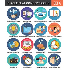 Circle colorful concept icons flat design set 6 vector