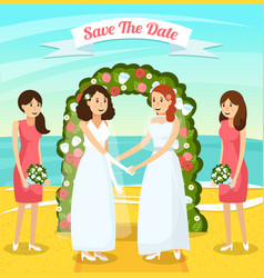 colored wedding people orthogonal composition vector image vector image