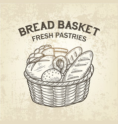 Composition of bread basket sketch of vector