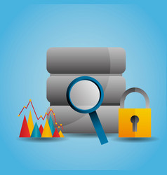 data server magnifier search graph security vector image