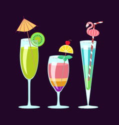 exotic alcoholic cocktails vector image