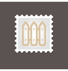 Fence flat stamp Outline vector image