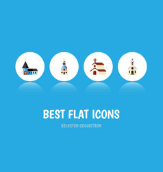 Flat icon building set of building christian vector
