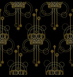 Gold crown seamless pattern vector
