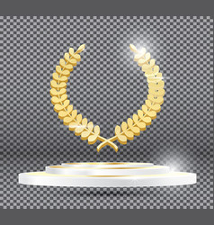 gold laurel wreath on podium on transparent vector image vector image