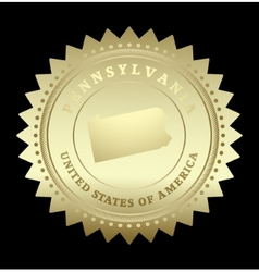 Gold star label Pennsylvania vector image vector image