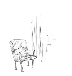Hand drawn room interior Chairs sketch vector image vector image