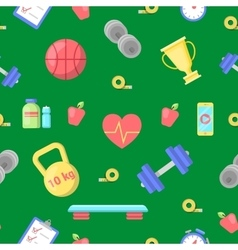 Healthy Lifestyle Fitness Icon Seamless Pattern vector image