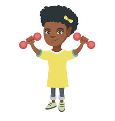 little smiling african girl holding dumbbells vector image