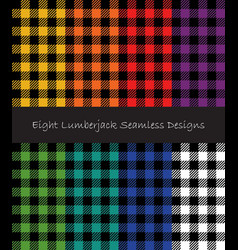 lumberjack seamless patterns collection vector image vector image