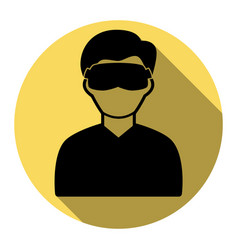 Man with sleeping mask sign flat black vector