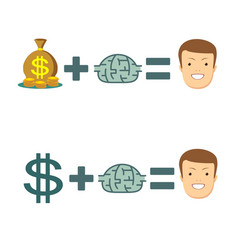 money and brains make you happy vector image