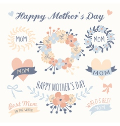 mothers day beautiful floral design elements set vector image