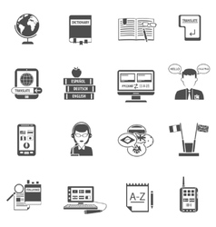 Multilanguage Translator Flat Icon Set vector image