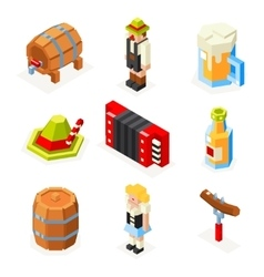 Oktoberfest isometric 3d polygon icons set beer vector
