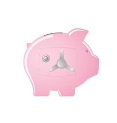 Pink piggy bank with a safe door vector
