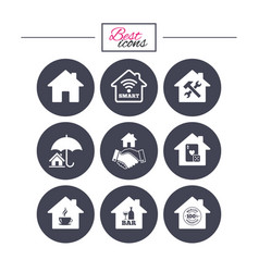 real estate icons house insurance sign vector image