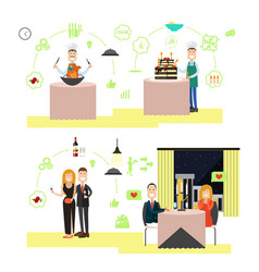 restaurant people in flat vector image