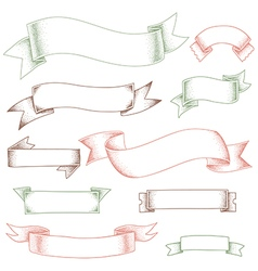 ribbons set outline shadows vector image vector image