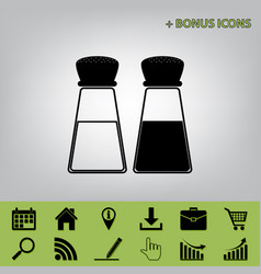 Salt and pepper sign black icon at gray vector