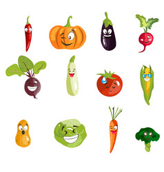 set cartoon vegetables with emotions vector image