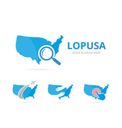 set of usa logo combination america and vector image vector image