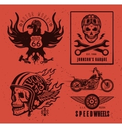 Set of vintage motorcycle labels vector