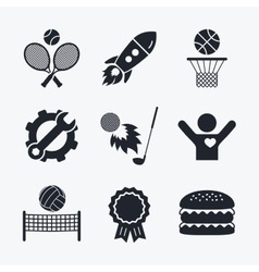 Tennis rackets with ball basketball basket vector