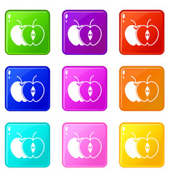 the whole apple and half set 9 vector image vector image