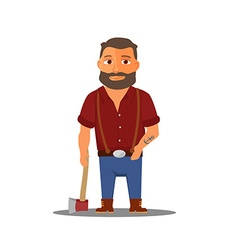 Cartoon lumberjack character with axe vector