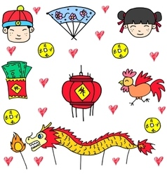 Element chinese celebration of doodles vector