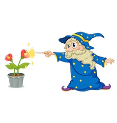 A wizard holding a wand pointing at the flowers vector image