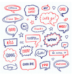 Hand drawn set of speech bubbles vector