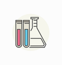 Laboratory flask with test tubes icon vector