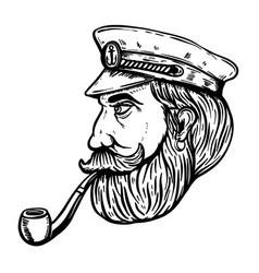 Sea captain with smoking pipe vector