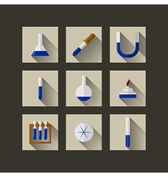 Flat icons for chemistry vector