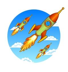 Vintage old rockets on a sky background vector image