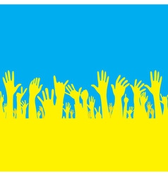 Hand with ukraine flag vector