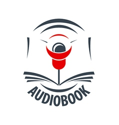 Logo audiobook with a red speaker vector