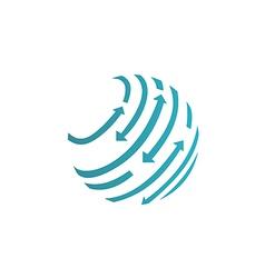round globe arrow abstract techno logo vector image