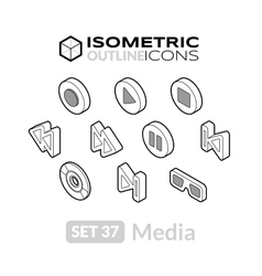 Isometric outline icons set 37 vector