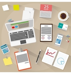 Office workspace flat design style vector