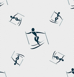Skier icon sign seamless pattern with geometric vector