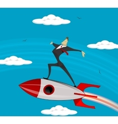 Flying businessman success vector